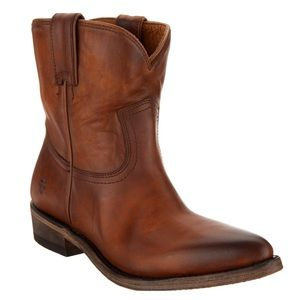 Frye Brown Leather Ankle Pull On Cowboy Boots